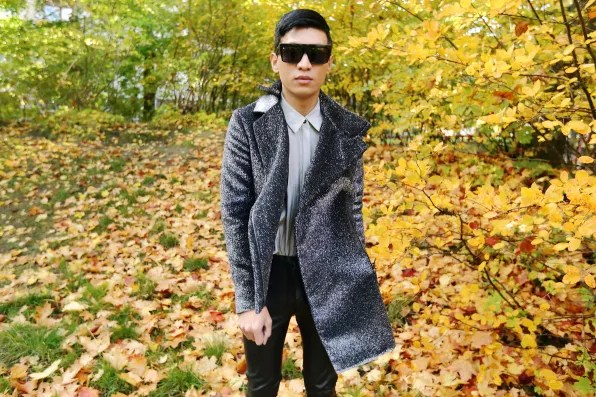 Silver Costume National jacket worn by Bryanboy