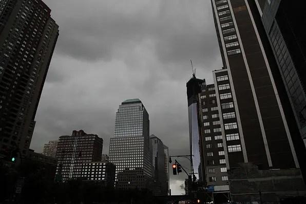 Dark clouds over lower Manhattan