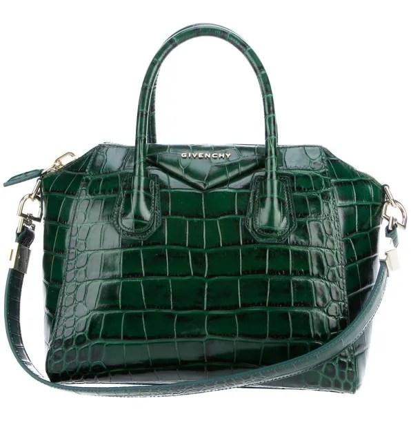 Emerald green faux crocodile embossed Givenchy Antigona bag