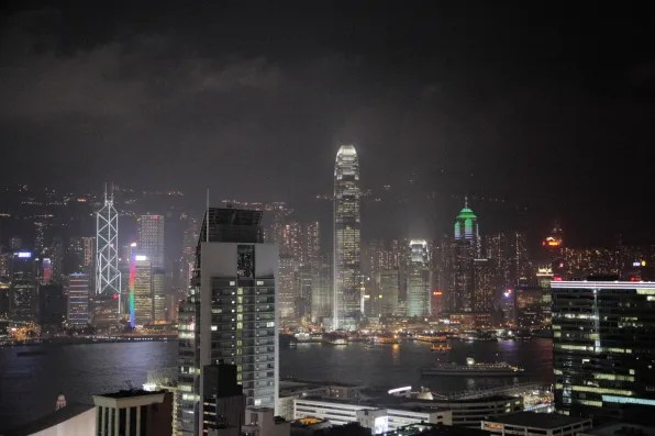 Hong Kong skyline at night; view from Tsim Sha Tsui