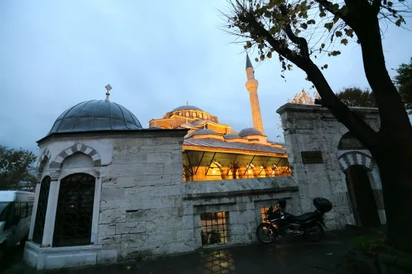 A mosque at dusk in Istanbul, Turkey