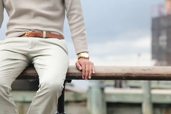 Pastel sweater and J Crew khaki trousers