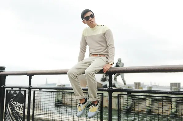A preppy looking Bryanboy at Battery Park