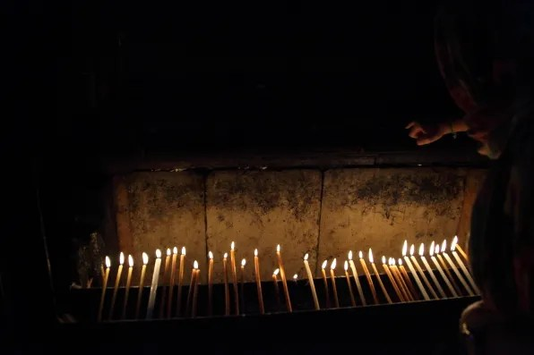 Row of candles at Church of the Holy Sepulchre