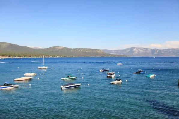 Small boats in Lake Tahoe