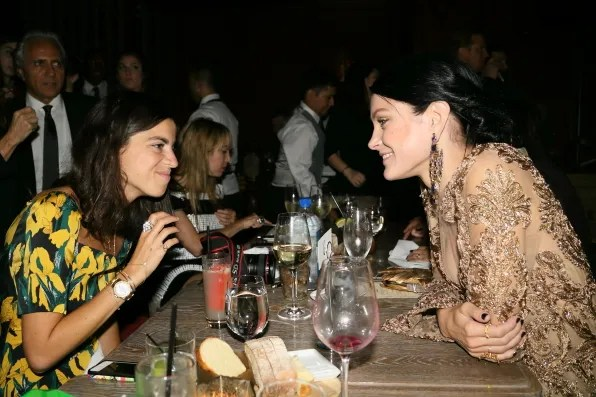 Manrepeller and Jessica Stam at the Marchesa spring summer 2013 dinner