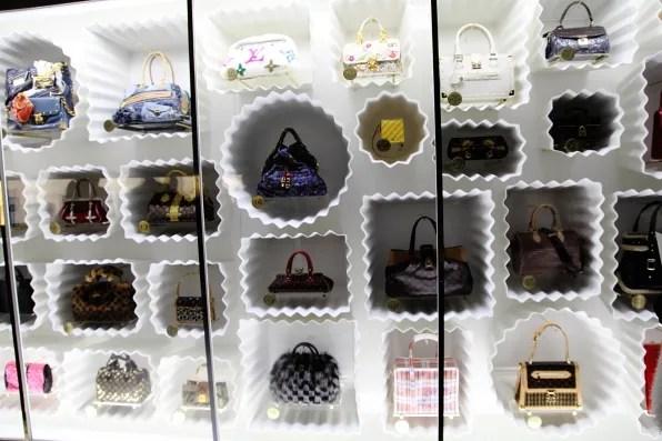 Louis Vuitton handbag wall at Louis Vuitton Marc Jacobs exhibition