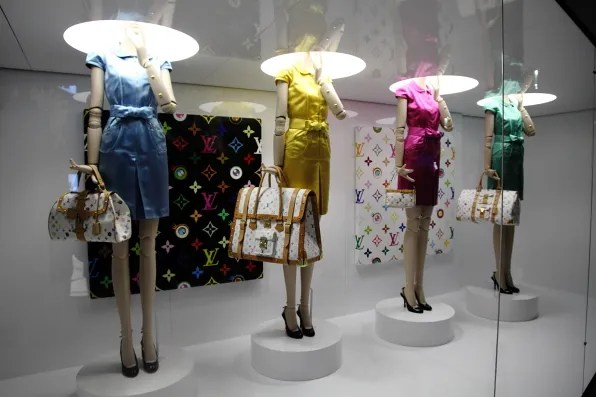 Murakami and Louis Vuitton handbags at Louis Vuitton Marc Jacobs exhibition