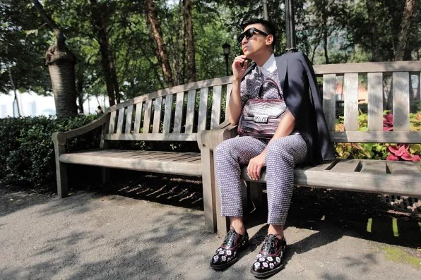 Bryanboy wearing Prada floral applique shoes in Pumphouse Park, NYC