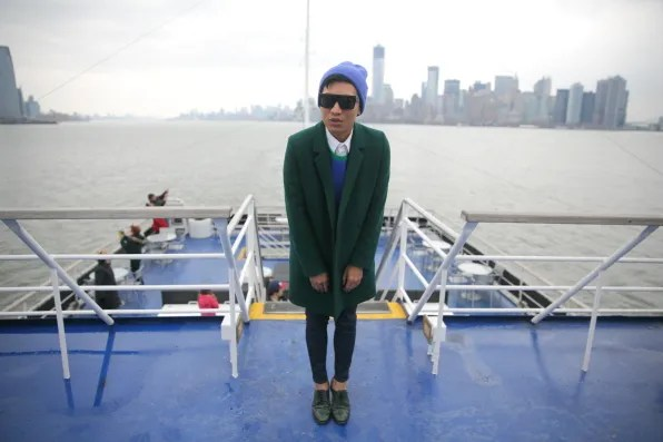 Bryanboy standing on the outside deck of Spirit Cruises New York