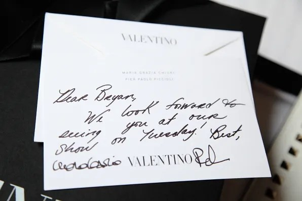 A notecard from Maria Grazia Chiuri and Pier Paolo Piccioli to Bryanboy
