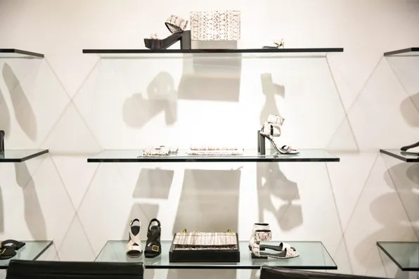 Snakeskin accessories from the Calvin Klein Collection Resort 2014 re-see