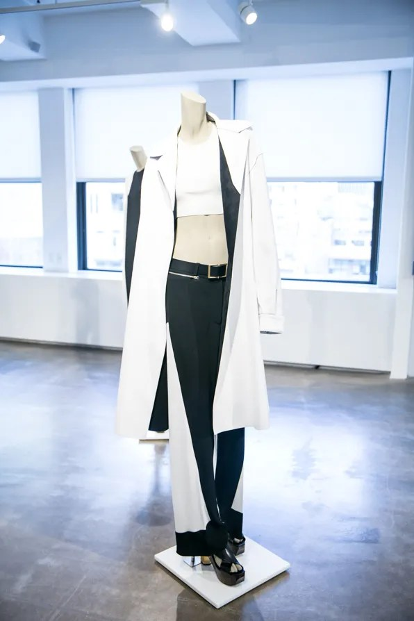 White ultrasuede coat from Calvin Klein Collection Resort 2014 collection by Francisco Costa