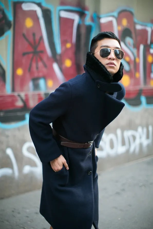 Bryanboy wearing an Acne Studios coat in Milan