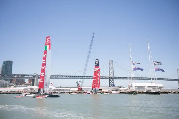 Prada Luna Rossa and Team New Zealand boats on America's Cup