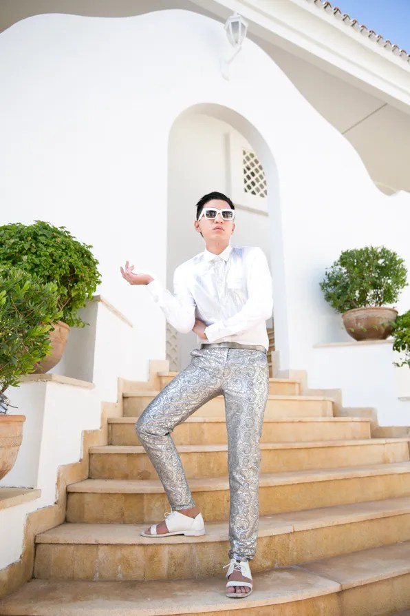 Bryanboy wearing Jenni Kayne silver brocade trousers from fall 2013 collection