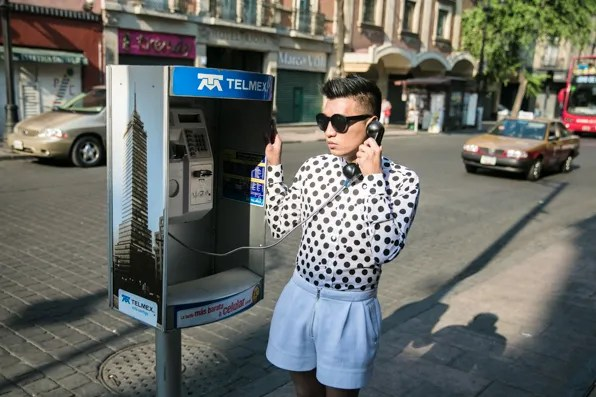 Bryanboy and Mexico City phone booth