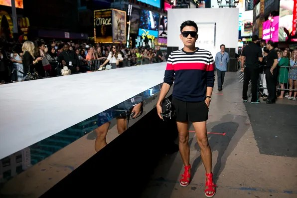 Bryanboy wearing Express at the 'Rock the Sidewalk' fashion show in Times Square by Express