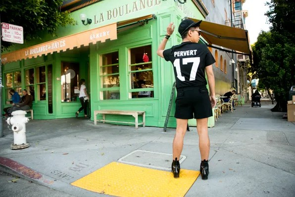 Bryanboy wears a black Givenchy Pervert t-shirt in San Francisco