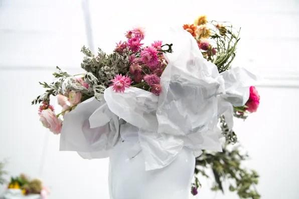 A floral headpiece at the Uniqlo Lifewear 2013 presentation
