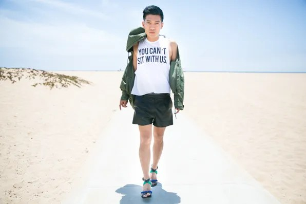 Bryanboy wearing an Emporio Armani jacket and You Can't Sit With Us Top by Brandy Melville
