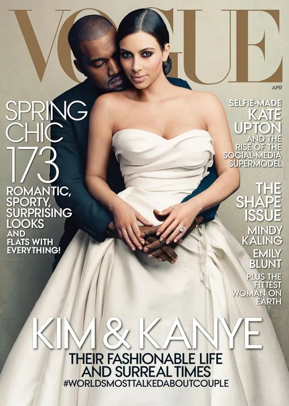 Kanye West and Kim Kardashian on the April 2014 cover of Vogue Magazine