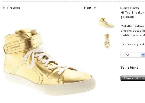Pierre Hardy Gold Hi Top Sneakers