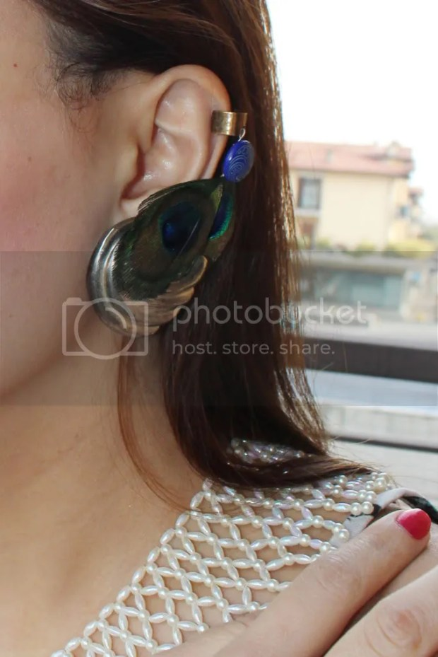 Peacock Feather Ear Cuff