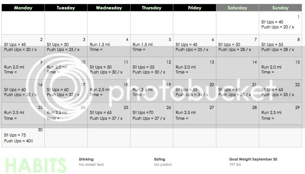 September Workout Calendar | September Workout Schedule | POPAT Training | Police Law Enforcement Workout