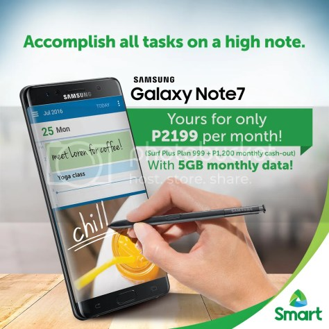 #SmartGalaxyNote7 for only P2,199 a month from Smart Postpaid