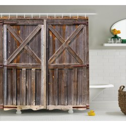 Impeccable Wildlife Shower Curtains And Rustic Shower Curtain Wooden Barn Door Farmhouse Oakcountryside Village Board Rural Life Shower Curtains Rustic Shower Curtains