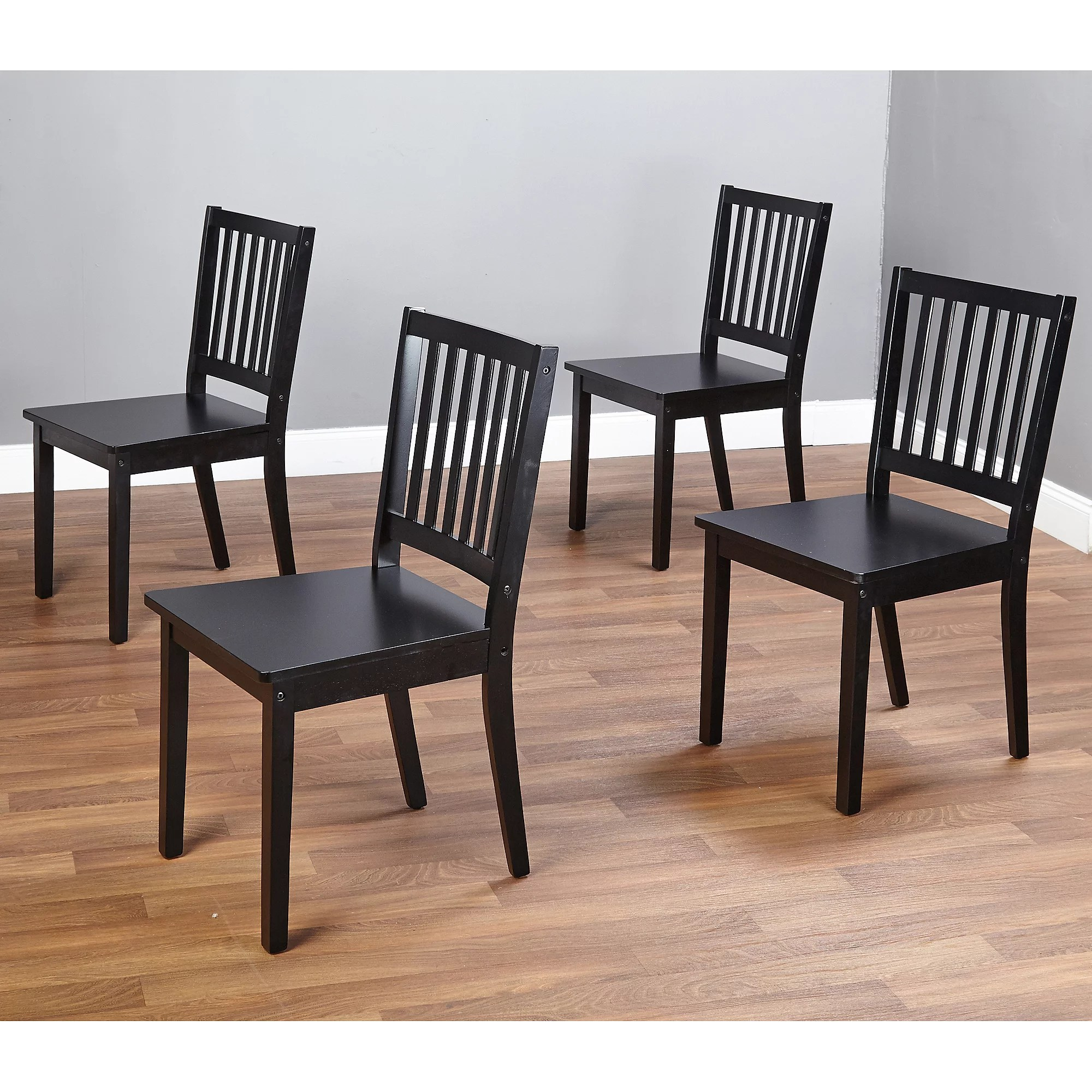 black kitchen chairs Shaker Dining Chairs Set of 4 Black