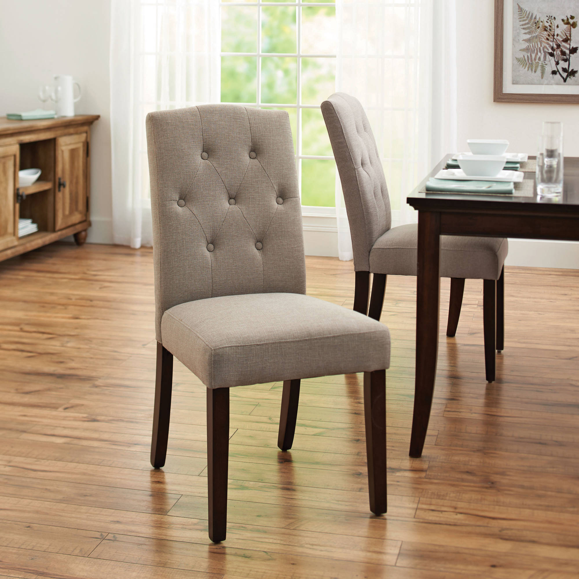 wayfair kitchen chairs Better Homes and Gardens Parsons Tufted Dining Chair Taupe