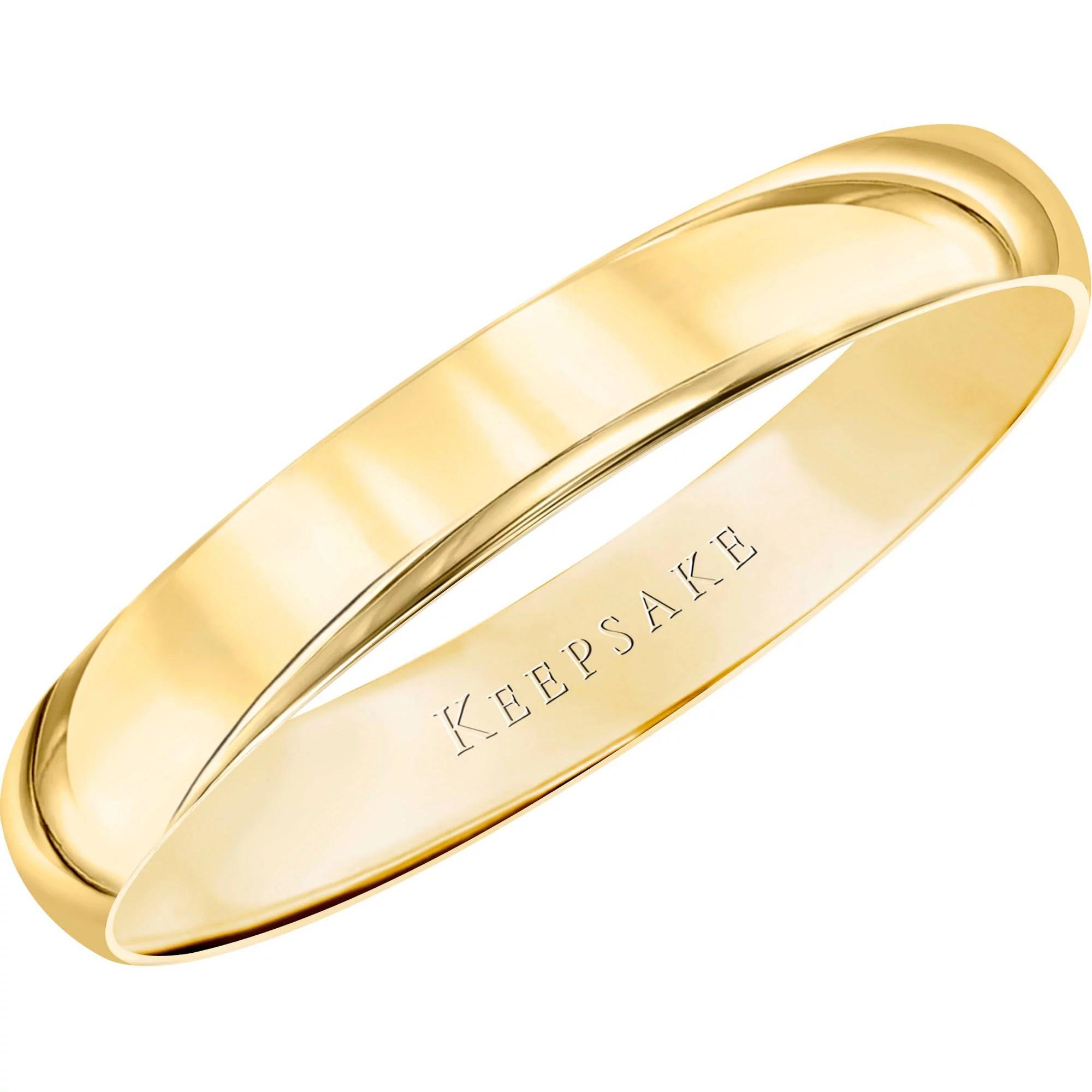 gold wedding bands Keepsake 10kt Yellow Gold Wedding Band With High Polish Finish 3mm