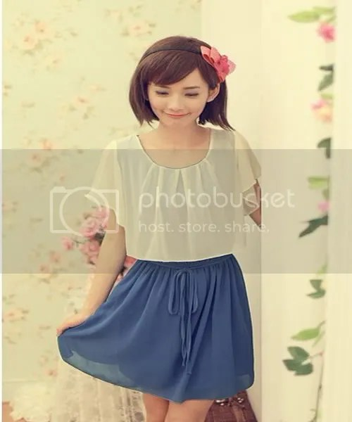 Korean ladies sweet temperament code F1225 summer & # 25340; then chiffon waist Slim even spell color with ; dress (blue)