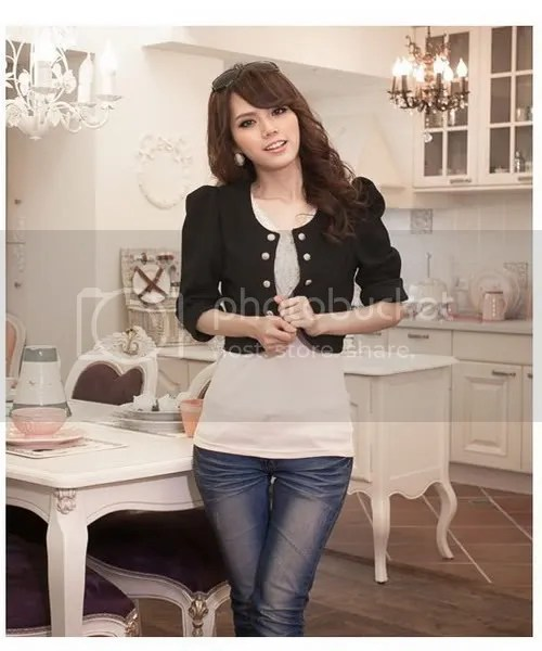 X9607 double row Chrysostom princess sleeve small jacket (black color)