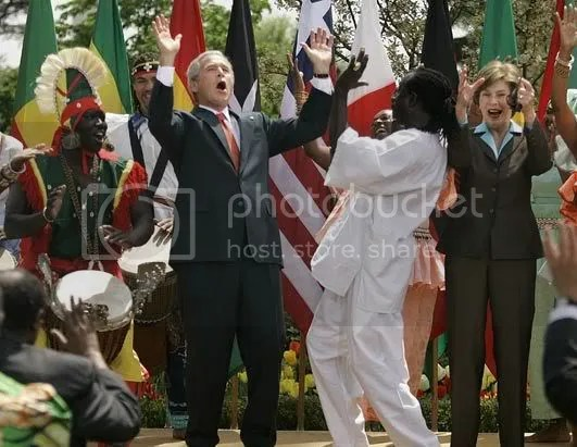 Noble President Bush coming down with a case of praise dance praises as he fellowships with blacks.
