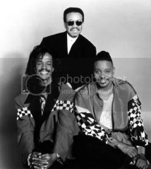 Clockwise from top: Maurice White, Philip Bailey, and Verdine White of Earth, Wind, & Fire