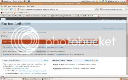 Wordpress 2.5 painel de administração