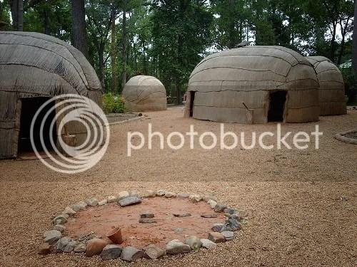 Recreated Powhatan village at the Jamestown Settlement