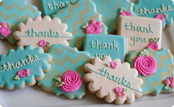 Gold Chevron Stenciled Floral Thank You Cookies   say that 3 times     gold chevron stenciled floral thank you cookies     and thoughts on  overcoming  cookie