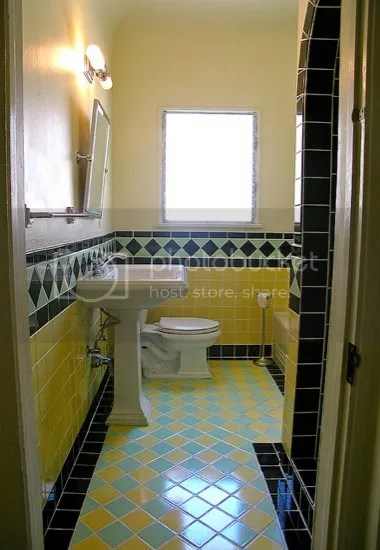 1946 yellow and... Yellow And Black Bathroom