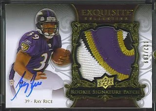 Ray Rice 2008 Exquisite Rookie RC Patch Auto /199 4 Clr
