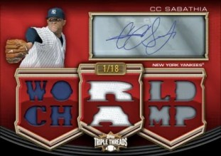 2010 Topps Triple Threads CC Sabathia Auto Relic
