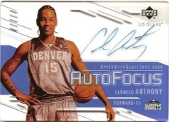 03/04 UD Glass Auto Focus Carmelo Anthony Autograph
