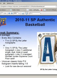 2010/11 Sp Authentic Michael Jordan By The Letter Autograph