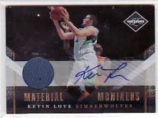 2010/11 Panini Limited Kevin Love Material Monikers Autograph