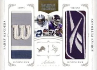 2010 Panini National Treasures Barry Sanders Wilson Patch Adrian Peterson Reebok Patch Card