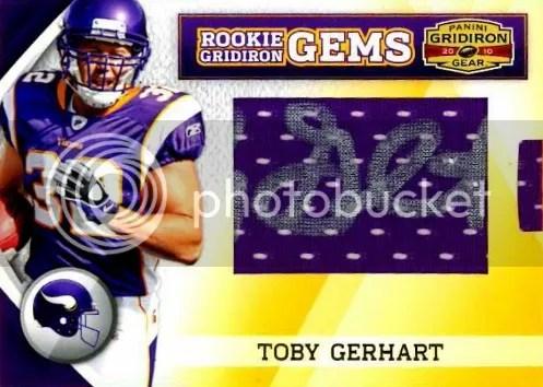 2010 Panini Gridiron Gear RC Hidden Gems Toby Gerhart Autograph Card