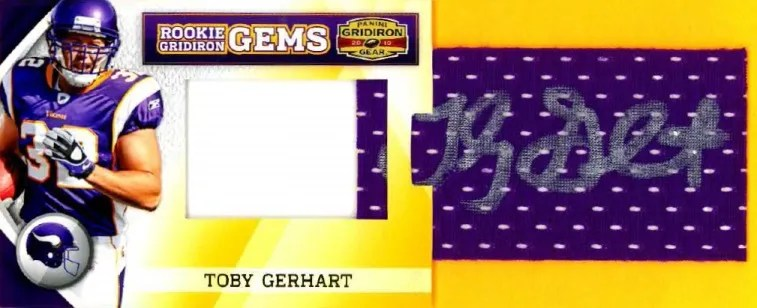2010 Panini Gridiron Gear RC Hidden Gems Toby Gerhart Autograph Pull Out Card